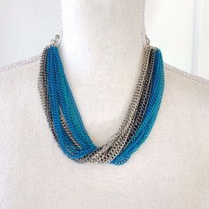 Guess Blue & Silver Chain Multi Strand Necklace C